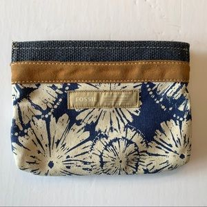 Fossil Cosmetic Bag Pouch Canvas & Suede Floral